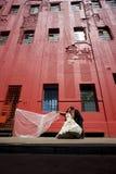 Pares nupciales hermosos jovenes que se inclinan contra el edificio rojo Fotografía de archivo