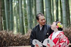 Pares nupciales japoneses Foto de archivo