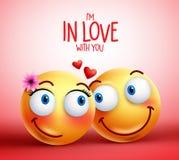 Pares ou amantes da cara do smiley que estão em expressões faciais do amor ilustração stock