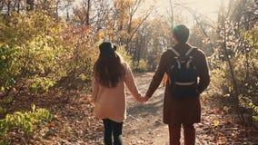 Pares preciosos que caminan en bosque en luz del día metrajes