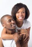Pares pretos brincalhão no dia de Valentim Foto de Stock