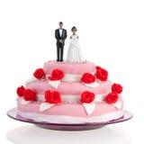 Pares pretos sobre o bolo de casamento Fotos de Stock Royalty Free