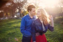 Pares que abraçam no parque no por do sol Imagem de Stock Royalty Free