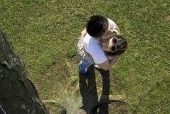 Pares que abraçam sob a árvore Imagem de Stock