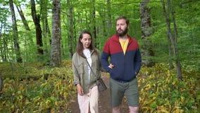 Pares que andam ao longo de um trajeto de floresta vídeos de arquivo