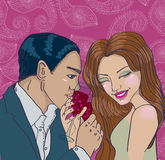 Pares que apreciam o comensal romântico Fotografia de Stock