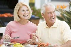 Pares que apreciam uma refeição de Barbequed Imagens de Stock Royalty Free