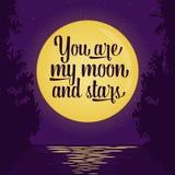 Pares que beijam no bonde Lua cheia e estrelas Illustra do vetor Fotografia de Stock Royalty Free