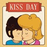 Pares que beijam no dia do beijo no cartão retro do projeto, ilustração do vetor Imagens de Stock Royalty Free