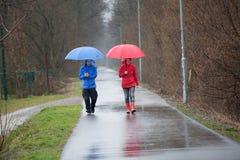 Pares que caminan en la lluvia Foto de archivo
