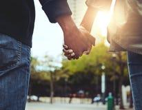 Pares que celebran las manos juntas en el aire libre fotografía de archivo