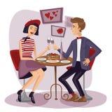 Pares que cenan con las copas Los amantes, el hombre y la mujer se sientan Imagen de archivo
