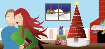 Pares que comemoram o Natal Fotos de Stock Royalty Free