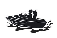 Pares que conducen la silueta del barco de la velocidad ilustración del vector