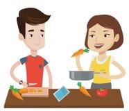 Pares que cozinham a refeição vegetal saudável ilustração do vetor