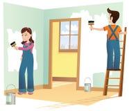 Pares que decoram a casa Foto de Stock Royalty Free