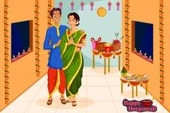 Pares que desean el festival feliz de Diwali de la India