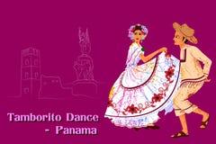 Pares que executam a dança de Tamborito de Panamá Fotos de Stock Royalty Free