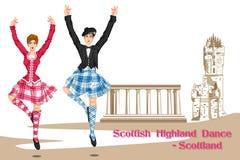 Pares que executam a dança escocesa das montanhas de Escócia Foto de Stock