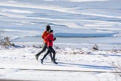 Pares que exercitam fora pelo lago Imagem de Stock Royalty Free