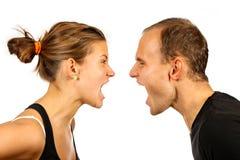 Pares que gritan Foto de archivo libre de regalías