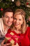 Pares que intercambian los regalos de la Navidad Imágenes de archivo libres de regalías
