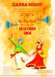 Pares que jogam Dandiya no cartaz de Garba Night do disco Fotografia de Stock Royalty Free