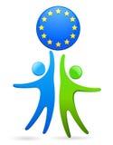 Pares que llevan a cabo un símbolo de la UE stock de ilustración