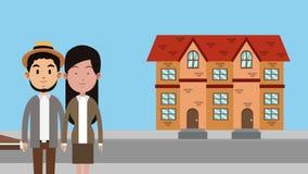 Pares que movem-se para a animação da casa nova HD ilustração do vetor