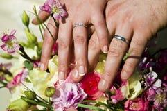 Pares que muestran apagado los anillos de bodas Fotos de archivo libres de regalías