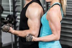 Pares que presentan con pesas de gimnasia Imagenes de archivo