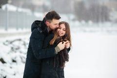 Pares que presentan en un parque nevoso Imagen de archivo