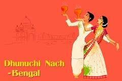 Pares que realizan la danza de Dhunuchi de Bengala, la India stock de ilustración