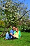 Pares que relaxam em um jardim de florescência da mola imagem de stock royalty free