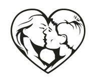 Pares que se besan en el símbolo del corazón ilustración del vector