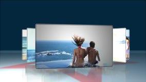 Pares que se divierten en la playa almacen de metraje de vídeo