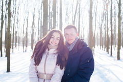 Pares que se divierten en parque nevoso Imagen de archivo libre de regalías
