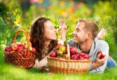 Pares que se relajan en la hierba y que comen manzanas Fotos de archivo