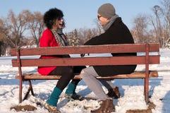 Pares que sentam-se no banco no inverno Imagem de Stock