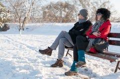 Pares que sentam-se no banco no inverno Imagens de Stock Royalty Free