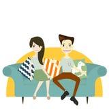 Pares que sentam-se no sofá flertar e falar sobre algo ilustração do vetor