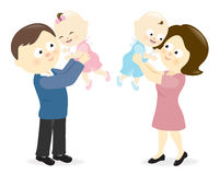 Pares que soportan a sus bebés Imagen de archivo libre de regalías