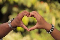 Pares que sostienen las palmas en la forma del corazón Fotos de archivo
