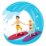 Pares que surfam Foto de Stock Royalty Free