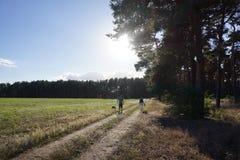 Pares que tienen un paseo en el otoño Fotografía de archivo libre de regalías