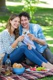Pares que tienen una comida campestre con el vino Fotografía de archivo libre de regalías