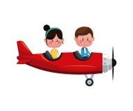 Pares que vuelan a la tarjeta del día de San Valentín romántica plana roja stock de ilustración