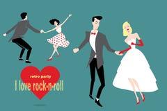 Pares retros del rollo del ` del ` n de la roca del baile Foto de archivo