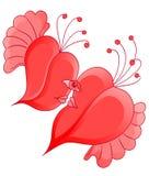 Pares románticos de la historieta en amor con en forma de corazón abstracto Fotografía de archivo