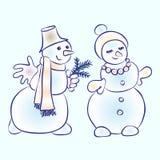Pares románticos de los muñecos de nieve Muñeco de nieve que corteja a su muchacha ilustración del vector